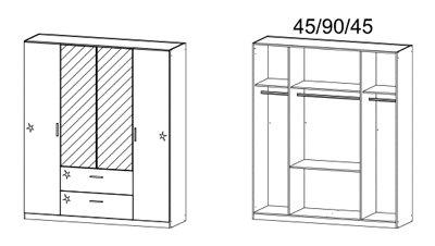 Kleiderschrank, Schlafzimmerschrank, Wäscheschrank, Drehtürenschrank, Schrank, 4-türig, Spiegeltüren, grau-metallic, Hochglanz weiß -