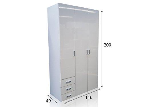 Kleiderschrank Schrank Kinderschrank Schlafzimmer 3-Türig Hochglanz Weiß Weiss -