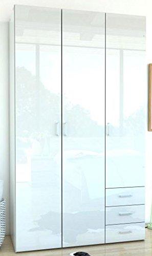 Kleiderschrank Schrank Kinderschrank Schlafzimmer Hochglanz Weiß Weiss 3-Türig -