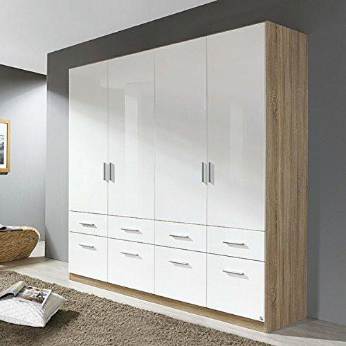 Kleiderschrank weiß kernnuss B 181 cm hochglanz Schrank Drehtürenschrank Kinderzimmer Jugendzimmer Kinderzimmerschrank -