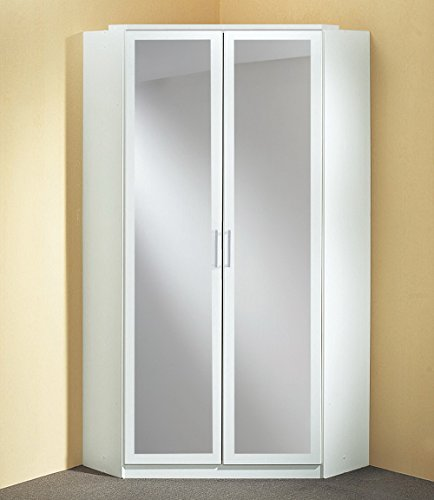 Schrank, Eckkleiderschrank, Kleiderschrank weiß, 2 Spiegeltüren, Maße: B/H/T 95/198/95 cm -