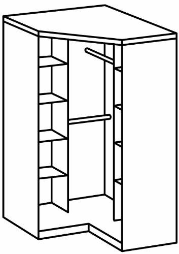 Wimex 130543 Eck-Kleiderschrank, 95 x 198 x 95 cm, 2-türig mit Spiegeln, Front und Korpus montana eiche Nachbildung -