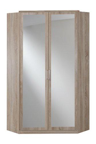 Wimex 140543 Eck-Kleiderschrank 95 x 198 x 95 cm, 2-türig mit Spiegeln, Front und Korpus eiche sägerau Nachbildung, Natur ( Innendekor Ahornfarben) -