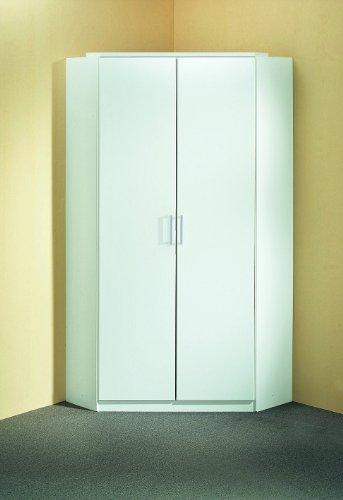 Wimex 147511 Eck-Kleiderschrank, 95 x 198 x 95 cm, 2-türig, Front und Korpus alpinweiß -