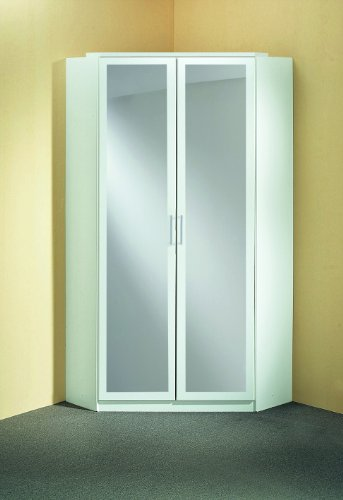 Wimex 147543 Eck-Kleiderschrank, 95 x 198 x 95 cm, 2-türig mit Spiegeln, Front und Korpus alpinweiß -