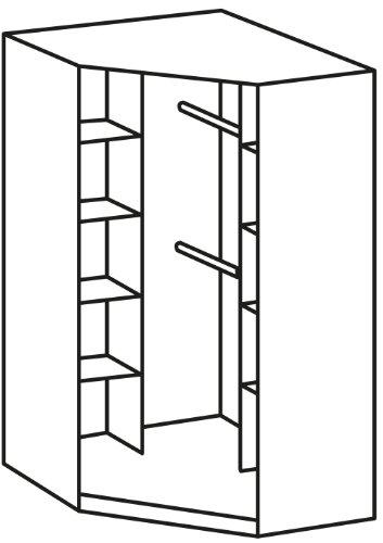 Wimex 329511 Eckschrank, 95 x 198 x 95 cm Aufstellmaß 120 x 120 cm, Front und Korpus Eiche Sägerau-Nachbildung/Absetzungen, alpinweiß -